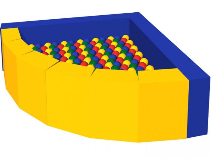 Romana Сухой бассейн ФасолькаСухой бассейн ФасолькаRomana Сухой бассейн Фасолька обладает массажными свойствами, помогает расслабиться и приносит много радости детям дошкольного и младшего школьного возраста, рассчитан на использование до четырех человек одновременно и станет приятным дополнением любым детским игровым комнатам и уголкам.   Особенности: Благодаря оригинальному дизайну: яркие цвета - развлекают и надолго привлекают внимание ребенка, а необычная форма - развивает ловкость, координацию и детскую фантазию. Мягкие блоки соединяются на липучке, что позволяет собирать и разбирать конструкцию.  Прочные соединения, устойчивая конструкция, удобная и мягкая поверхность основы и бортиков, защищают ребенка при падениях и максимально обеспечивают безопасность детей во время игры.  Преимущества: Массажирует Развивает мелкую моторику и координацию Стимулирует подвижность ребенка и его физическую активность Занимает ребенка, освобождая время родителей Создает психологический комфорт Соответствует требованиям ГОСТ  Размер: 1200 х 1200 x 500 мм Трапеция: 290 х 150 х 400 - 6 шт Борт: 1350 х 150 х 400 - 1 шт Борт: 1200 х 150 х 400 - 1 шт Мат: 1050 х 1050 х 50 - 1 шт Шарики: 300 шт.<br>