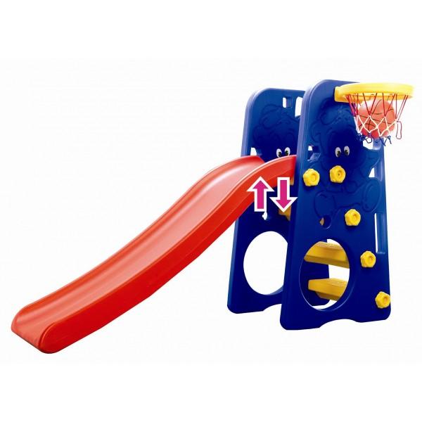 Горка Edu-Play Друзья с баскетбольным кольцомДрузья с баскетбольным кольцомДетская горка Друзья в комплекте с баскетбольной корзиной и мячом, предназначена для игр на улице и в помещении.   Для детей в возрасте от 18 месяцев до 4 лет, максимальная нагрузка 20кг.   Дизайн горки разработан для постоянного движения, что способствует развитию координации и различных групп мышц ребенка.   Детская горка также подойдет для дачи.   Изготовлена из прочного экологически чистого пластика, безопасного для людей, конструкция прочная и надежная, прослужит долгие годы.<br>
