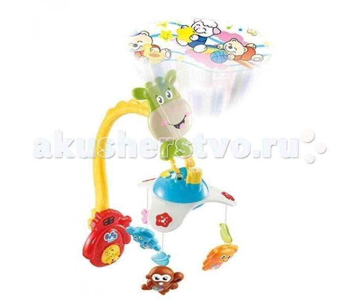 Мобиль Bairun Музыкальная карусель-проекторМузыкальная карусель-проекторBairun Музыкальная карусель-проектор - это игрушка, которая сможет развлечь малыша световыми эффектами или убаюкать его спокойными детскими мелодиями. Карусель можно прикрепить к детской кроватке и она будет вращаться, веселя и радуя ребенка. Игрушки-подвески на карусели выполнены в ярких насыщенных цветах, благодаря чему у ребенка будет хорошо развиваться зрительное восприятие. С помощью пульта можно регулировать громкость, а также включать и выключать мобиль.<br>