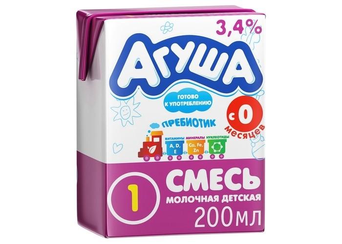 Молочные смеси Агуша Смесь детская с пребиотиком Агуша 1 готовая 3.5% 200 мл молочная продукция агуша молоко tba slim rc 3 2% 500 мл