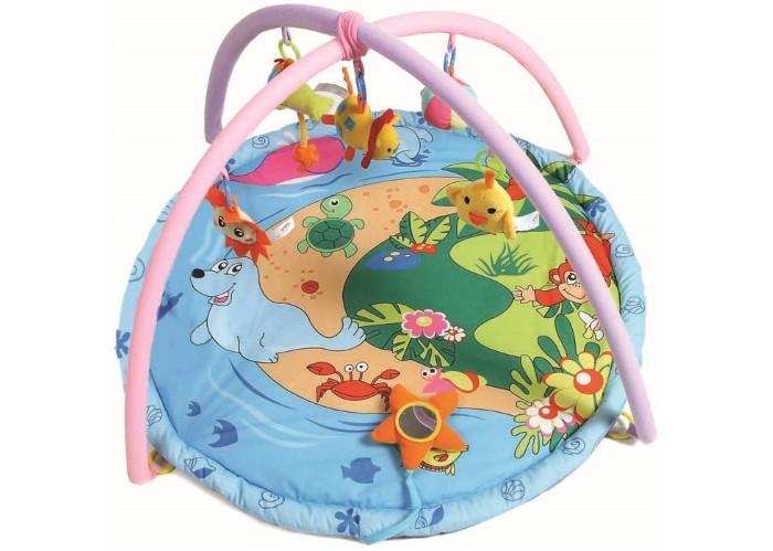 Развивающий коврик Felice Весёлый островокВесёлый островокИгровой развивающий коврик Весёлый островок Felice для детей от 0 до 12 месяцев, сделан из мягкой ткани - велюр.   Коврик развивает восприятие цветов, форм, фактур, размеров, звуков.   В комплект коврика входят 2 игровые дуги с пятью разными подвесными игрушками, есть зеркало и подушечка. Игрушки гремят, пищат, шуршат, хорошо развивают хватательный рефлекс, их можно заменять любыми подвесками.   Дуги съемные. Коврик компактно складывается, удобен в хранении и транспортировке. Легко стирается.   Размеры коврика 90х90х45 см.<br>