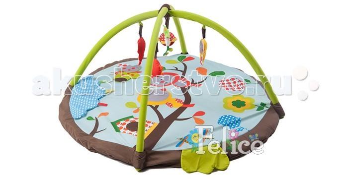 Развивающий коврик Felice Птицы на веткеПтицы на веткеИгровой развивающий коврик с подушечкой Птицы на ветке Felice для детей от 0 до 12 месяцев, сделан из мягкой ткани.   Коврик развивает восприятие цветов, форм, фактур, размеров, звуков.   В комплект коврика входят 2 игровые дуги с разными подвесными игрушками, есть зеркало. Игрушки гремят, пищат, шуршат, хорошо развивают хватательный рефлекс, их можно заменять любыми подвесками.   Дуги съемные. Коврик компактно складывается, удобен в хранении и транспортировке. Легко стирается.   Размеры коврика 95х95х45 см.<br>