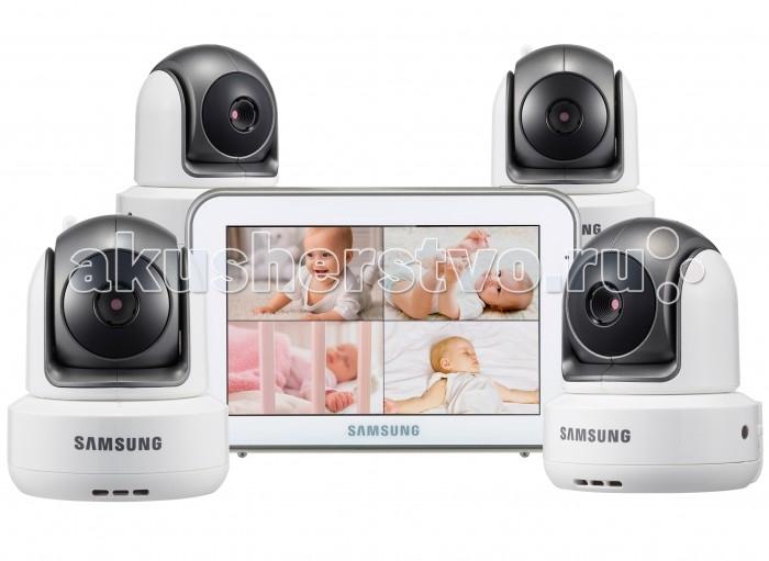 Samsung Видеоняня 4 камерыВидеоняня 4 камерыSamsung Видеоняня отличается высоким качеством и надёжностью. Благодаря наличию самых востребованных функций, видеоняня удобна в обращении и в значительной степени упрощает повседневную работу родителей. Качество изделия, которое характерно зарекомендовавшему себя производителю, обеспечивает высокую безопасность, высокое качество изображения и звука. Обеспечена гарантией производителя и надлежащим уровнем сервиса.   В комплекте видеоняни 4 камеры. Оснащена функцией разделения экрана для просмотра всех подключенных к системе детских блоков одновременно. Предусмотрен также и режим сканирования, в котором с промежутком в несколько секунд на экран выводится изображение с каждой камеры поочередно. Видеоняня оснащена всеми необходимыми современным родителям функциями и удобна в повседневном использовании. Современные технологии цифровой передачи данных, используемые в устройстве, обеспечивают качественную и устойчивую к помехам связь без интерференции.   Особенности: Изображение камеры высокого качества HD 720p (разрешение 1280 x 720, эффективные пиксели H: 1280 / V: 1024) Высокое качество изображения на мониторе, разрешение 800 х 480 пикселей Сенсорный дисплей, управление с помощью прикосновения к экрану Удалённое управление поворотом камеры с родительского блока Поворот камеры: 300o по горизонтали 110o по вертикали, чем обеспечивается полный обзор комнаты Угол обзора камеры в пассивном положении 55o (обычно этого достаточно, чтобы охватить больше половины детской комнаты, зависит от места расположения) Двухсторонняя связь позволяет успокоить кроху на расстоянии, если он расплакался Высокое качество звука Ночник на детском блоке, управляемый с родительского блока Чистый цифровой сигнал обеспечивает надёжную связь, которую не могут прервать работающие роутеры, микроволновая печь, домашний радиотелефон или прочие бытовые электронные приборы Режим ночного видения включается автоматически при недостаточном освещении Инфракрасная по