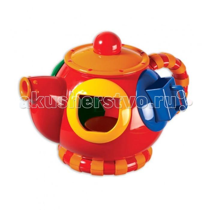 Сортер Tolo Toys ЧайникЧайникМожет использоваться в качестве сортировщика форм или настоящего чайника!   Поставляется с 4 мини-чашками, которые отличаются цветом и формой, чтобы соответствуют отверстиям.   Легко снимается крышка позволяет для быстрого доступа к чашкам.   Учит более глубоко понимать соответствия цвета и формы. Улучшает навыки манипуляции и мелкой моторики.  Эта игрушка развивает навыки координации, осязания и захвата, решения задач, распознавания форм, текстуры, звуков и цветов, а также мелкую моторику и сноровку.  Игрушки Tolo отличаются высоким качеством изготовления и повышенной прочностью.<br>
