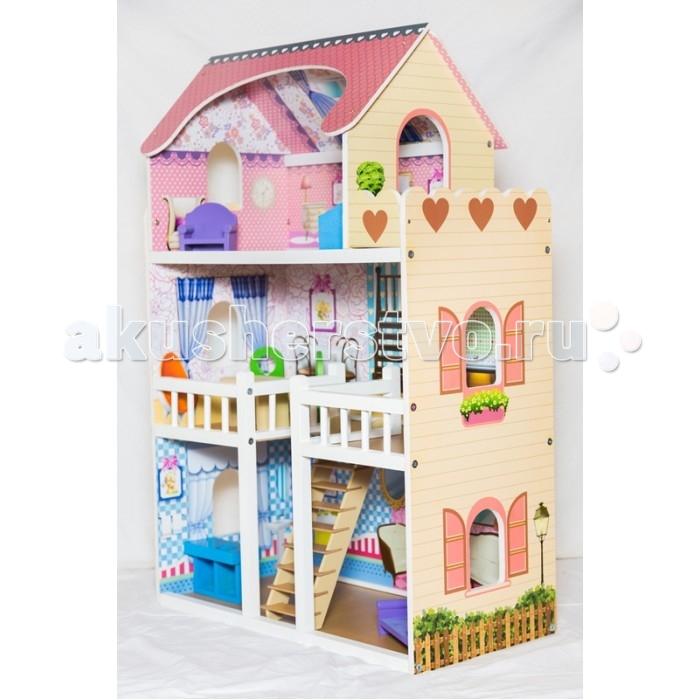 Мой дом Кукольный домик ВаряКукольный домик ВаряМой дом Кукольный домик Варя подходит для многочасовых игр для каждой девочки с ее сестрами или подругами. Производитель позаботился не только о безопасности домика, но и о точности его исполнения для эстетического удовольствия Вашего ребенка.   Кукольный домик  оснащен всеми базовыми элементами, необходимыми для проживания любимых кукол. На первом этаже домика расположена ванная и столовая. В доме предусмотрена лестница, которая ведет на второй этаж, где расположена комната отдыха и кухня. На третьем этаже спальня и прекрасный открытый балкон.  Особенности: Материал дерево.  Высота 90 см. Ширина 58 см. Глубина 30 см. Состав набора: домик сборный, диван, кресло, журнальный столик, два стула, кровать, кухонный стол.  К домику прилагается подробная инструкция по его сборке.<br>