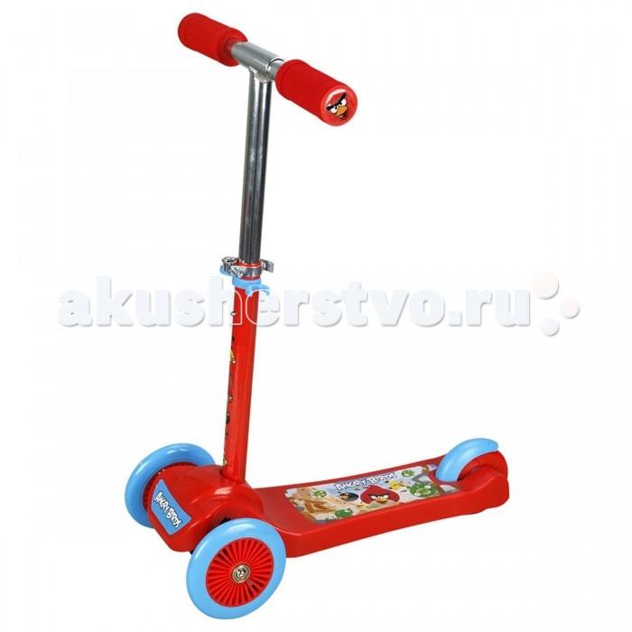 Трехколесный самокат 1 Toy Angry Birds Т57625Angry Birds Т57625Самокат 1 Toy Angry Birds Т57625 со складной ручкой и 3 мягкими колесами покрашен в насыщенный красный цвет, который выделяется на сером фоне асфальта. Управляемый наклоном рулевой стойки самокат подойдет маленьким детям, которые только учатся кататься. На платформе самоката изображена сцена из игры, мультфильма Angry Birds, где злые птички атакуют рассеянных свинок.  Размер самоката: 50 х 10 х 63 см.  Параметры: Диаметр передних колёс: 12 см. Диаметр заднего колеса: 10 см. Высота руля: от 60.5 до 63 см. Длина платформы: 24.5 см.<br>