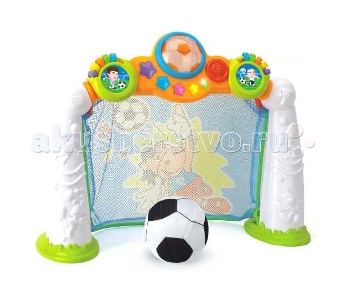 Huile Toys Игра Детский футболИгра Детский футболHuile toys Игра Детский футбол - рама, на которой крепится сетка подвижная снизу. При попадании мяча в ворота раздаётся звук, овации и т.п. На воротах загораются лампы: 3D подсветка внутри мяча, лампочки - звёздочки.   В первом режиме: после забитого мяча загорается одна из ламп на корпусе.  Во втором режиме: таймер отсчитывает время: сначала горят все лампы, постепенно выключаясь одна за одной. После того, как лампы погаснут, звучит сигнал.   Справа и слева на воротоах есть механические счёты - по пять колец с цифрами с каждой стороны. При нажатии на центральную кнопку с изображением мяча звучат овации, музыка, мигают лампы.  Особенности игрового набора: музыка звук свет регулятор громкости работает от 3-х батареек АА, в комплект не входят мяч.<br>