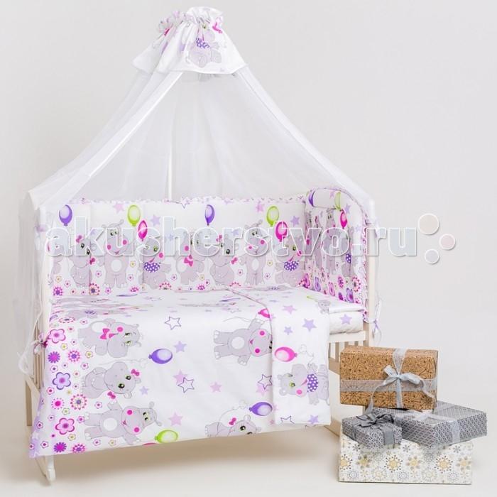 Комплект в кроватку Мой Ангелочек 7 предметов Бегемотики7 предметов БегемотикиМой Ангелочек Комплект в кроватку 7 предметов Бегемотики - великолепное постельное бельё, которое имеет оригинальный дизайн и неповторимый стиль. В данном наборе есть всё необходимое, чтобы сделать спальное место малыша уютным, комфортным и безопасным. Все аксессуары выполнены их натурального и экологически чистого хлопкового волокна. Они отлично пропускают воздух, позволяя малышу чувствовать себя комфортно во время сна. В процессе использования и носки бельё не потеряет форму и яркости красок. Такой комплект в кроватку чудесно дополнит интерьер детской комнаты.  Особенности: Бязь ГОСТ премиум  Состав: 100% хлопок  Плотность материала: 148 гр/м2  Наполнитель: Термофайбер 100% п/э Комплект состоит из 7-ми предметов: Бортик стёганый в кроватку из 4-х частей: 54 х 60 см - 1 шт.; 40 х 60 см - 1 шт.; 40 х 120 см - 2 шт. Пододеяльник: 110 х 140 см Простыня на резинке 60 х 120 х 15 см (для стандартного спального места) Наволочка: 40 х 60 см Одеяло: 110 х 140 см (чехол 100% хлопок) Подушка: 40 х 60 см (чехол 100% хлопок) Балдахин с рюшей: 165 х 280 см (вуаль 100% п/э) Уход: Перед первым применением необходимо постирать. Машинная стирка при температуре не более 40°С.<br>