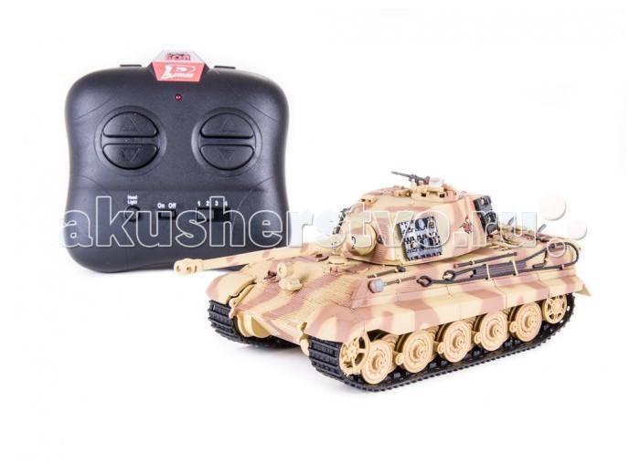 Pilotage Радиоуправляемый танк Королевский Тигр 505 1:48 ИК пушкаРадиоуправляемый танк Королевский Тигр 505 1:48 ИК пушкаPilotage Радиоуправляемый танк Королевский Тигр 505 1:48 ИК пушка - полностью собранная и покрашенная в камуфляж прототипа радиоуправляемая копия танка King Tiger  505 в масштабе 1:48 с инфракрасной пушкой.   26 мая 1941 г.состоялось заседание с участием Гитлера. Участники встречи обсуждали создание нового тяжёлого танка Tiger II. Cоздание танка поручили Porsche и Henschel. Первые Tiger II поступили в войска в феврале 1944-го, а первое боевое применение состоялось под Минском в мае 1944 г. и под польским городом Сандомир в июле 1944-го. Королевский Тигр при своём большом весе был очень манёвренной машиной, а управление им не требовало чрезмерных физических усилий. Tiger II поступали на вооружение только тяжёлых танковых батальонов армии и SS. Королевские Тигры воевали на Восточном и Западном фронтах и добыли у оппонентов славу очень опасного противника. Эти танки стали своеобразными символами немецкой танковой мощи и участвовали в боях до последних дней войны.   Качество изготовления, раскраска и деталировка модели выполнены на высшем уровне. Все детали скопированы в мельчайших подробностях: камуфляж, соответствующий танкам, участвующим в обороне Берлина, многорядные катки, пулеметы, решетки, прикрывающие двигатель, буксировочные тросы, лопата и инструмент закреплены на корпусе, можно изменить угол установки ствола.   Радиоуправляемая модель оборудована звуковой имитацией работы двигателя, выстрела пулемета и пушки. Модель способна повторять все движения прототипа вплоть до поворота башни на 180 градусов. Модель оборудована инфракрасной пушкой для ведения танкового боя. При стрельбе динамики имитируют звук выстрела и происходит откат, создается впечатление, будто танк выстрелил настоящим снарядом. Резиновые гусеницы позволяют модели преодолевать неровности ландшафта и взбираться на подъемы крутизной до тридцати процентов.   Модель танка King Tiger