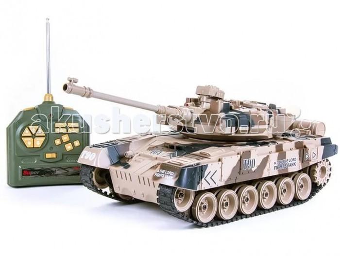 Pilotage Радиоуправляемый танк 1:18 Russia T90 стреляющий шарикамиРадиоуправляемый танк 1:18 Russia T90 стреляющий шарикамиPilotage Радиоуправляемый танк 1:18 Russia T90 стреляющий шариками выполнена с высочайшей степенью копийности. В этой модели скрупулезно сымитированы все детали, начиная от структуры литья брони и заканчивая отличительными знаками.  Модель способна повторять все движения прототипа, вплоть до поворота башни на 350 градусов и изменения угла установки ствола главного орудия. Копия этого танка стреляет пластмассовыми шариками типа ВВ (6мм), выталкиваемыми сжатым воздухом на 12 метров с силой выстрела 0,02 Дж. Боекомплект составляет около 20 снарядов. При желании вы можете отключить функцию стрельбы шариками, при помощи выключателя, который расположен под крышкой люка, и тогда, во время выстрела будут работают только световые и звуковые эффекты.  Танк имеет три скорости движения вперед: 8, 10 и 12 км/ч, и функцию заднего хода. Имитация торсионной подвески поддерживающих катков позволяет модели преодолевать неровности ландшафта и взбираться на подъемы крутизной до 45 градусов.   Эта модель для настоящих ценителей бронированной мощи. Радиус действия передатчика 20-25 метров. Танк работает от  Ni Cd 700 мАч 9,6В аккумулятора в течении 20 -25 минут, после чего понадобиться зарядка, которая длиться примерно 4 часа.  Танк прекрасно смотрится как копия, но в отличие от статичных стендовых моделей, на этой модели можно преодолевать препятствия на импровизированном «танкодроме», построенном из книг и различных коробок, отрабатывать точность стрельбы или устроить с друзьями танковый биатлон!<br>