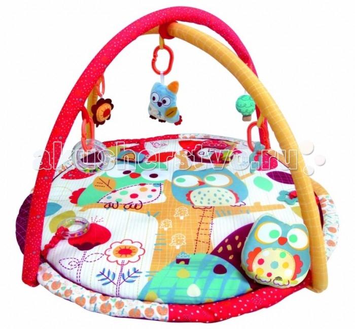 Развивающий коврик Merx игровой коврик Додо и Кикиигровой коврик Додо и КикиMerx Развивающий игровой коврик Додо и Кики для новорожденных и младенцев. Коврик обеспечит вашему ребенку комфортное и безопасное место для игры, обучения, развития и отдыха.  Функции:  Игрушки и 3D лепестки для развития моторики  Музыкальная кнопка, пищалки и шуршалки для развития слуха Использованы разнообразные тактильные материалы  Разноцветный красочный дизайн и зеркальце, способствующие развитию зрения Все игрушки, подвешенные на дугах, можно снять с колец и использовать отдельно от коврика  Компановка элементов коврика вдохновляет ребенка к движению и игре. Комплектность: Игровой коврик с дугами и аксессуарами.  На коврике:  Пищалка  Шуршащие 3D лепестки для развития моторики и слуха  Пластиковое зеркальце Пластиковое кольцо-погремушка.  На дугах:  Пластиковое кольцо с мягкой игрушкой с пищалкой Пластиковое кольцо с мягкой игрушкой с погремушкой Пластиковое кольцо с ключами для развития моторики  Пластиковое кольцо с прорезывателем.  Материал: Коврик, внешний слой - 80% Полиэстер / 20% Хлопок Коврик, наполнитель - Полиэстер Дуга, каркас - Фиберглас  Дуга внешний слой - 80% Полиэстер/ 20% Хлопок Дуга, наполнитель - Полиэстер.<br>