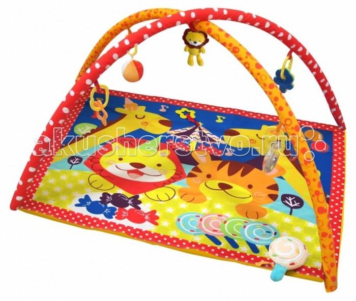 Развивающий коврик Merx игровой Циркигровой ЦиркMerx Развивающий игровой коврик Цирк для новорожденных и младенцев. Коврик обеспечит вашему ребенку комфортное и безопасное место для игры, обучения, развития и отдыха.  Функции:  Игрушки и 3D лепестки для развития моторики  Музыкальная кнопка, пищалки и шуршалки для развития слуха Использованы разнообразные тактильные материалы  Разноцветный красочный дизайн и зеркальце, способствующие развитию зрения Все игрушки, подвешенные на дугах, можно снять с колец и использовать отдельно от коврика  Компановка элементов коврика вдохновляет ребенка к движению и игре. Комплектность: Игровой коврик с дугами и аксессуарами.  На коврике:  Мызыкальная кнопка работает от батареек, батарейки замене не подлежат  Пищалка  Шуршащие 3D лепестки для развития моторики и слуха  Пластиковое зеркальце Пластиковое кольцо-погремушка.  На дугах:  Пластиковое кольцо с мягкой игрушкой с пищалкой Пластиковое кольцо с мягкой игрушкой с погремушкой Пластиковое кольцо с ключами для развития моторики  Пластиковое кольцо с прорезывателем.  Материал: Коврик, внешний слой - Полиэстер  Коврик, наполнитель - Полиэстер Дуга, каркас - Фиберглас  Дуга внешний слой - Полиэстер Дуга, наполнитель - Полиэстер.<br>