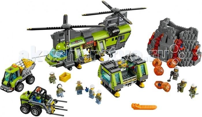 Конструктор Lego Тяжёлый транспортный вертолёт ВулканТяжёлый транспортный вертолёт ВулканLego Конструктор Тяжёлый транспортный вертолёт Вулкан, чтобы создать настоящую исследовательскую базу рядом с извергающимся вулканом, Вам понадобится транспортный вертолёт из набора Лего 60125. Его вместительный салатово-серый корпус предназначен для перевозки особо тяжёлых и габаритных грузов. Для этого в конструкции вертолёта предусмотрено несколько секций. Сзади находится прямоугольный отсек с откидывающимся пандусом. В нём можно перевозить контейнеры с инструментами или найденные редкие минералы.  Центральная часть вертолёта представляет собой открытую нишу. При помощи специального крепления в ней фиксируется одна из двух трапециевидных платформ. Первая напоминает компактную лабораторию с прозрачными голубыми стёклами, заградительными барьерами и оборудованием, необходимым для хранения и исследования добытых кристаллов. Вторая платформа играет роль дробильной установки. Активируя острые отбойные молотки, она быстро раскалывает лавовые глыбы и добирается до их содержимого.  Также в конструкции вертолёта присутствует множество подвижных и реалистичных элементов, таких как навигационные огни, система прожекторов, надёжное шасси, длинные антенны, вращающиеся четырёхлопастные винты, мощные двигатели и открывающаяся кабина пилота с голубым стеклом, 2 креслами и штурвалом. Размер вертолёта в собранном виде составляет 17 х 47 х 26 см.  Также в наборе Вы найдёте: Транспортёр-погрузчик 7 х 13 х 6 см с синим креслом водителя, прозрачными фарами, оранжевыми сигнальными огнями и подвижными держателями для груза Самосвал 7х11х6 см с усиленной кабиной, панорамными голубыми окнами и раскрывающимся вместительным кузовом Модель вулкана 13 х 20 х 9 см с прозрачными элементами и реалистичной функцией извержения Четыре лавовых глыбы со спрятанными внутри кристаллами. В наборе присутствуют 8 минифигурок с аксессуарами для реалистичной и познавательной игры.<br>