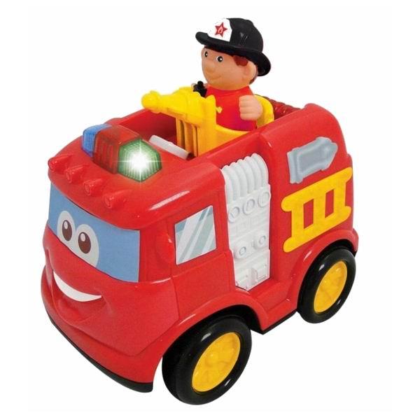 Kiddieland Пожарная машина на р/уПожарная машина на р/уРазвивающая игрушка Пожарная машина Kiddieland 042929 обладает радиоуправлением. Игрушка красочно оформлена: по всему корпусу разместились элементы пожарной экипировки, которые с интересом будет рассматривать малыш. Во время езды у машинки светятся мигалки и звучат сигналы.   У машинки отсутствуют острые углы, она выполнена из высококачественного гипоаллергенного пластика. Управляется с помощью пульта. Также присутствуют звуковые эффекты: музыка, сирена, гудок, звуки заводящегося мотора, торможения.  Особенности: движение в 6 направлениях: вперед, назад, вперед-направо, вперед-налево, назад-направо, назад-налево звуковые эффекты: звуки заводящегося мотора, торможения, гудок, сирена, музыка пожарная лесенка выдвигается  В наборе: машинка, пульт управления, батарейки, инструкция.<br>