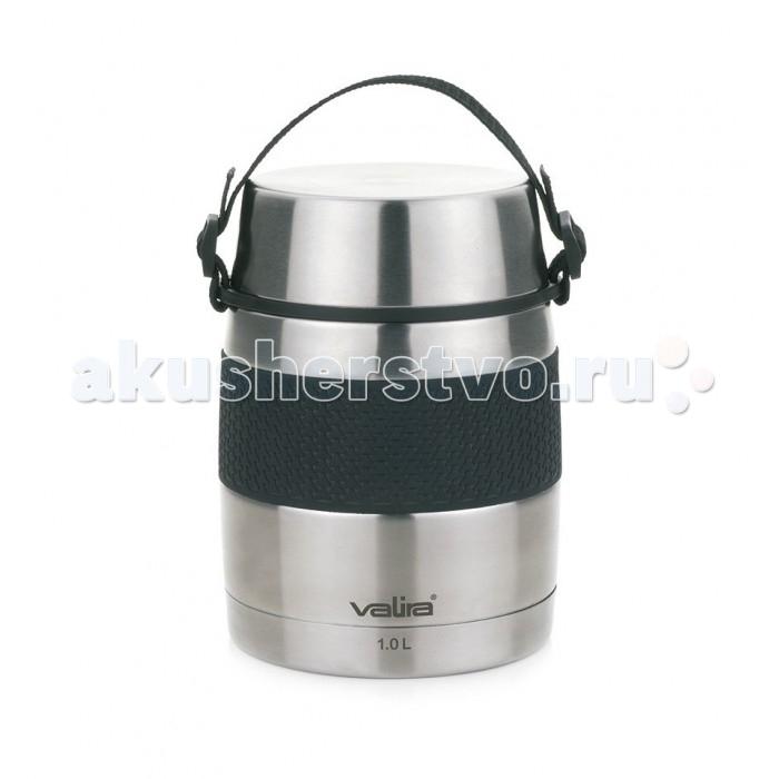 Термос Valira Фляга Inoxterm  1 лФляга Inoxterm  1 лValira Термос фляга Inoxterm 0.7 л вакуумный термос из нержавеющей стали для еды.  Термос имеет двустенную стальную чашку Он держит не только тепло, но и холод на протяжении 24 часов Благодаря вакуумной изоляции, внешняя поверхность при этом всегда остается прохладной В отличие от термосов со стеклянной колбой, металлические вакуумные термосы не боятся падений и ударов Термос имеет нескользящую силиконовую полоску, чтобы он не выскальзывал из рук Кроме этого имеет ручку для удобства переноски Этот термос подойдет для всех случаев жизни: его можно использовать на работе или брать с собой на дачу Он выручит Вас в туристических поездках, пригодится для занятий спортом и спокойного отдыха! Объем: 1 л<br>
