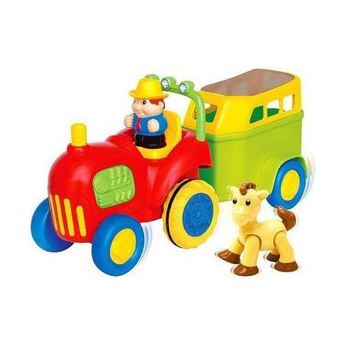 Kiddieland Трактор с лошадкойТрактор с лошадкойТрактор с лошадкой Kiddieland 038224 - это трактор, который ребёнок может катать по полу.   Трактор самостоятельно едет вперед с настоящим звуком двигателя и автоматической остановкой!   Нажмите на маленького водителя, чтобы услышать веселую музыку или нажмите на руль для гудка.   В прицепе детишки найдут лошадку, издающую звуки, когда ее возвращаешь на место.  Трактор с лошадкой, включает в себя: трактор, прицеп, водителя-тракториста и, конечно, лошадку.  У лошадки подвижные голова, ноги и хвост, поэтому с ней будет интересно играть.<br>