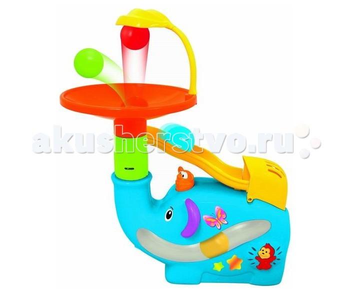 Kiddieland Забавный слон с шарамиЗабавный слон с шарамиРазвивающая игрушка Забавный слон с шарами Kiddieland развлечёт малыша, он с интересом будет наблюдать, как слон выдувает шары.   Игровой процесс сопровождается мелодиями.  Игрушка развивает моторику рук, зрительное восприятие.   В наборе: 5 разноцветных шариков.   Для работы требуются батарейки типа C, 4 шт. (входят в комплект).<br>