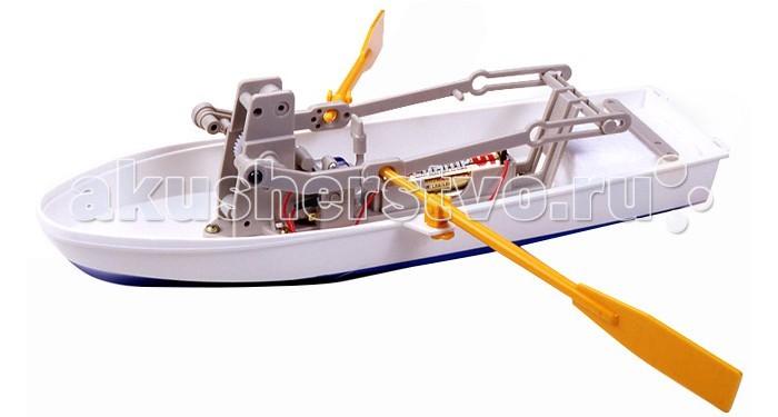 Конструктор Tamiya Row Boat KitRow Boat KitКонструктор Tamiya Row Boat Kit для сборки действующей модели Весельная лодка.  Каждый мальчишка, увидев хитроумный механизм, пытается его разобрать, чтобы узнать, как там внутри все устроено. Серия интеллектуальных конструкторов наглядно демонстрирует взаимосвязь рычагов и механизмов в действии. Из комплекта простых деталей можно собрать сложную, функциональную модель, которая будет двигаться, и перемещаться, поражая окружающих своим необычным видом, замысловатой механикой и функциональной простотой.  Конструктор Весельная лодка позволяет собрать действующую модель. Вращение вала электромотора через редуктор и систему рычагов преобразуется в гребные взмахи весел модели, обеспечивая движение вперед. Изменяя длину рычагов, можно заставить модель двигаться по кругу. Пенопластовый блок гарантирует непотопляемость. Собрать, понять и запустить - философия этих познавательных интеллектуальных конструкторов.  В комплект входит: набор деталей для сборки модели; электромотор, инструкция.<br>