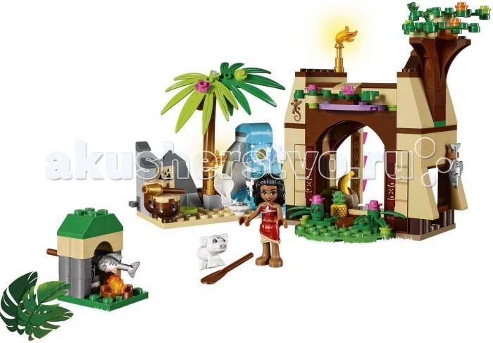 Конструктор Lego Disney Princesses Приключения Моаны на затерянном островеDisney Princesses Приключения Моаны на затерянном островеLego Приключения Моаны на затерянном острове.  На таинственном острове, затерянном посреди Тихого океана, живёт Моана – дочь вождя местного племени. Это очень добрая и отзывчивая девушка, любящая свой народ и свой мир. Её любознательность и тяга к приключениям не знают границ, вот почему однажды она стала избранной, которой предстояло защитить свой остров. Не испугавшись грядущих опасностей, Моана отправилась в плавание через океан, чтобы победить Злые Силы и разрушить древнее заклятье.  Из деталей набора Лего 41149 Вы сможете построить подробную модель хижины Моаны. Снаружи она окружена экзотическими цветами и густыми зелёными ветками. Пройдя через арочный деревянный вход, можно очутиться внутри и рассмотреть интерьер. На первом этаже располагается просторная комната с ковром, круглым столом и скамейкой. Здесь Монана хранит запас фруктов и отдыхает после долгих прогулок по пляжу.  Чтобы подняться на второй этаж хижины, нужно воспользоваться лестницей, прикреплённой к стене. Наверху устроена открытая площадка с мягкими пуфами. В хорошую погоду её можно использовать в качестве столовой или гостиной, из которой открывается прекрасный вид на океан. Рядом с хижиной поставлена каменная печь с горящими углями. В ней закреплён вращающийся вертел, необходимый для приготовления пойманной рыбы.  Слева от хижины начинаются дикие джунгли. Исследуя их, Моана обнаружила живописную поляну с водопадом и пальмами, о которой слышала из древних легенд. Зачерпнув немного воды из водопада, девушка нашла тайник в котором хранилось Сердце Те Фити. С его помощью Моана стала избранной, находящейся под защитой самого океана. Теперь она готова превратиться в настоящего мореплавателя, стремящегося отправиться в далёкое путешествие.  Размер хижины Моаны в собранном виде составляет 14 х 24 х 8 см, размер поляны с водопадом – 9 х 11 х 5 см. В наборе присутствует фигур