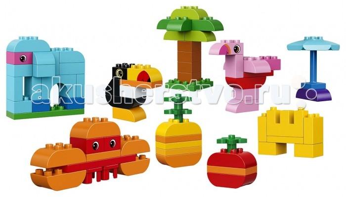 Конструктор Lego Duplo Набор деталей для творческого конструированияDuplo Набор деталей для творческого конструированияLego Duplo Набор деталей для творческого конструирования -  если малыш любит путешествовать и узнавать как можно больше об окружающем нас мире, то набор Лего 10853 ему обязательно понравится. В его состав входят 75 строительных элементов и яркие пошаговые инструкции. С их помощью можно пофантазировать на тему обитателей тропиков. Малыш познакомится с африканским слоном, розовым фламинго и длинноносым туканом, а также узнает, как растут пальмы и ананасы.  Если далёкое путешествие будет слишком утомительным, то вместо него можно устроить небольшой пикник на берегу моря. Построить замок из песка, понаблюдать за ползающими крабами или помечтать под пляжным зонтиком.  Игра с кубиками для творческого конструирования не только увлекательна, но и очень познавательна, так как с её помощью малыш сможет расширить свой кругозор и развить мелкую моторику. Следует отметить, что упаковка набора представляет собой прочный контейнер с ручкой, в котором удобно хранить и перевозить все детали.<br>