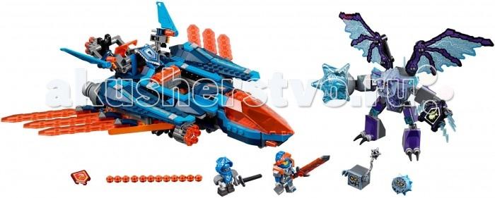 Конструктор Lego Nexo knights Самолёт-истребитель Сокол КлэяNexo knights Самолёт-истребитель Сокол КлэяLego Nexo knights Самолёт-истребитель Сокол Клэя в набор входит в число самых больших наборов серии Nexo Knights. Набор состоит из 523-х деталей. В нем есть 3 маленьких фигурки, запретная сила опустошение, 2 Nexo-силы обезьяна с гранатой и веселая тыква.  Собери игру и получи сразу 5 увлекательных объектов. Самым большим получается истребитель ВВС Найтонии. Яркая, интересующая себя цветовая гамма. В основном голубые и синие цвета.  Самолетом можно управлять и для полета, и для атаки. Трансформация игрушки, выполняется без каких-либо трудностей. Все быстро и просто.  С каждым новым выпуском Lego, мы не перестаем удивляться техники и мастерству производителей. Вот, например, присутствующая в наборе фигурка Гримрок. Больше всего он напоминает огромную горгулью. Остальные монстры выглядят намного симпатичнее Гримрока. Квадратного монстрика зовут Брикстер, и конечно, невозможно не заметить кого он напоминает, конечно же, обозлившегося кубика из майнкрафта.<br>