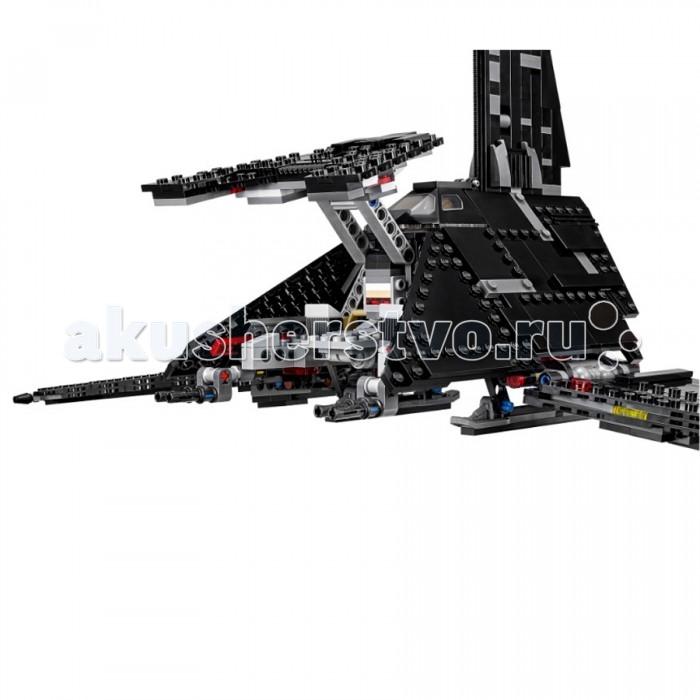 Конструктор Lego Star Wars Имперский шаттл КренникаStar Wars Имперский шаттл КренникаLego Star Wars Имперский шаттл Кренника - надежное транспортное судно т-3с тип «Дельта», личный транспорт директора Орсона Кренника, в честь которого и получил свое название. На его борту отлично помещался отряд штурмовиков смерти. В собранном виде у этой модели поднимаются и опускаются крылья, открывается кабина пилота, передний два боковых и задний отсеки. Немного времени и вот ваш шаттл собран, пора проверить боевую готовность.   Опустите пандус, следующим этапом надо проверить, хорошо ли закреплены бластеры и наконец, зарядить пружинные пушки. Задраить люки и приготовиться к взлету! Настало время отправляться на новое опасное и увлекательное задание, так что убирайте шасси, опускайте крылья и вперед! К новым эпическим сражениям, измени историю и реши исход битвы! В комплект входит шесть фигурок человечков K-2SO, Бодхи Грач, ПАО, Директор Кренник, Имперский штурмовик смерти x2, это будет отличный подарок для всех новых и заядлых поклонников вселенной Star Wars.<br>