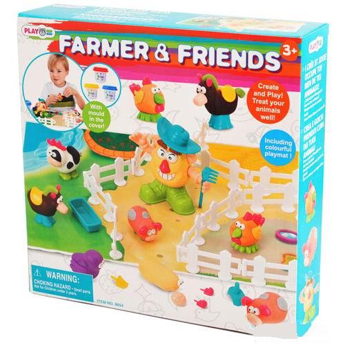 Всё для лепки Playgo Набор Фермер и друзья всё для лепки lori набор для рисования пластилином полосатая рыбка объёмная картина