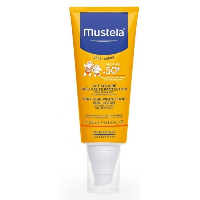 Гигиена и здоровье , Солнцезащитные средства Mustela Sun Солнцезащитное молочко SPF 50+ 200 мл арт: 291271 -  Солнцезащитные средства