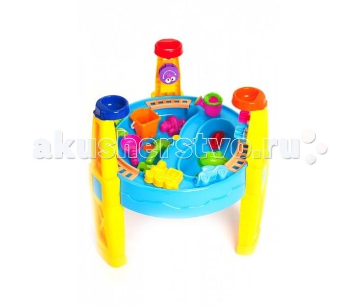 Bradex Стол игровой для песка и воды с набором формочек Счастливый карапузСтол игровой для песка и воды с набором формочек Счастливый карапузBradex Стол игровой для песка и воды с набором формочек Счастливый карапуз похож на настоящий аквапарк с множеством ярких, вращающихся элементов, от которых невозможно отвести взгляд. Это не просто столешница из прочного пластика ярких цветов, а неиссякаемый источник веселья и радости для ваших детей.   Игровой стол разделен на две зоны: в одну можно насыпать песок, а вторая станет отличным резервуаром для воды. По периметру стола проложены рельсы, по которым и ездит паровозик с двумя вагончиками. В ножки стола также встроены воронки. Насыпьте туда песок или воду и смотрите на завораживающее движение шестеренок. Игровой стол – не просто игрушка, но и занимательный способ научить ребенка чему-то новому.  Размеры стола: 54&#215;54&#215;63 см<br>
