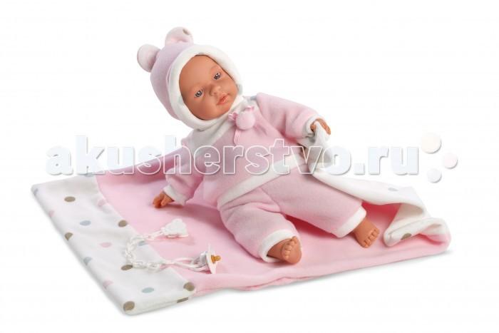Llorens Кукла Люсия 33 см с одеялом со звукомКукла Люсия 33 см с одеялом со звукомLlorens Кукла Люсия 33 см с одеялом со звуком. Кукла из ПВХ, умеет плакать и говорить мама, папа. Кукла одета в розовую кофточку, штанишки, шапочку. В комплекте имеется одеяльце и пустышка.   Глазки у куклы не закрываются. Упакована в подарочную упаковку.<br>