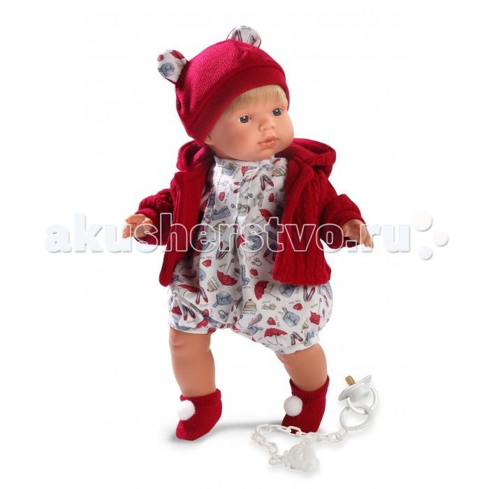 Llorens Кукла Саша L 38535 38 смКукла Саша L 38535 38 смLlorens Кукла Саша L 38535 38 см. Кукла из ПВХ с мягконабивным туловищем из синтетического волокна. Без механизмов и звуковых эффектов. Кукла одета в светлое боди с красной кофточкой, шапочку, носочки. К кукле прилагается соска. Глазки у куклы не закрываются. Упакована в подарочную упаковку.<br>