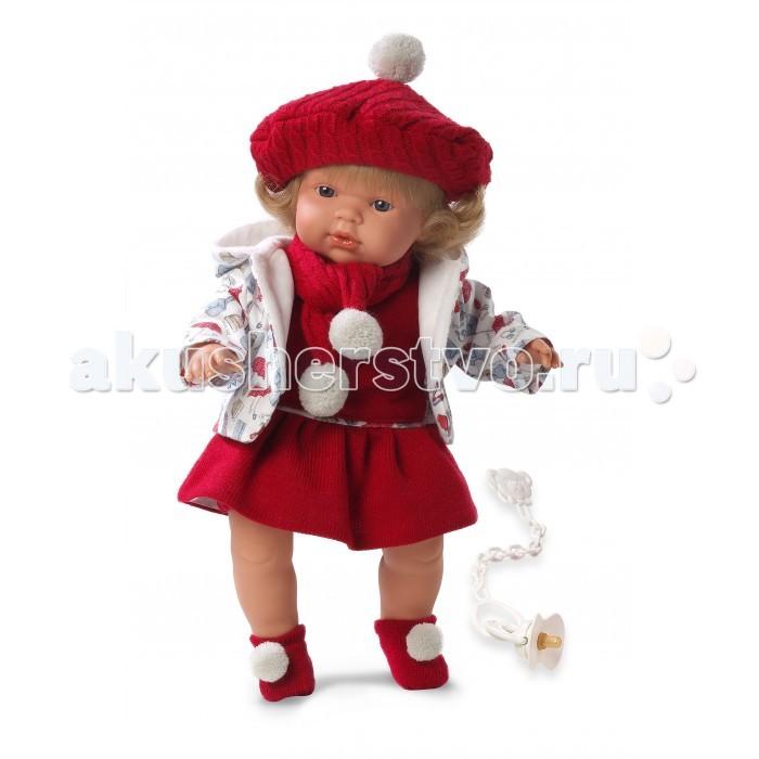 Llorens Кукла Клавдия 38 см со звукомКукла Клавдия 38 см со звукомLlorens Кукла Клавдия 38 см со звуком. Кукла из ПВХ с мягконабивным туловищем с наполнителем из синтетического волокна. Кукла умеет плакать и говорить мама, папа. Одета в красное платье, белую курточку, шарфик, берет, носочки.   К кукле прилагается соска. Если вынуть соску изо рта куклы, то она начинает плакать. Для того чтобы она перестала плакать - поместите соску в рот куклы. Глазки у куклы не закрываются. Волосы прошиты по всей голове. Упакована в подарочную упаковку.<br>