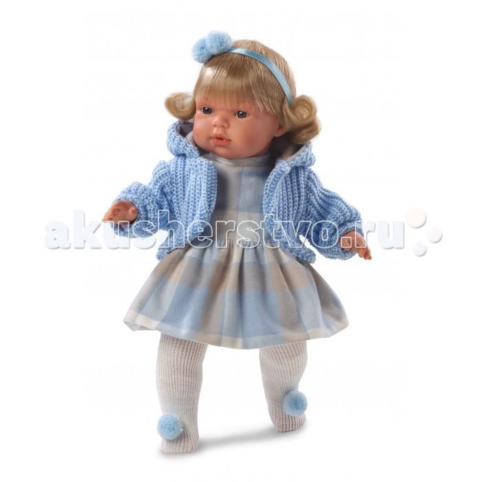 Llorens Кукла Шарлота 38 см со звукомКукла Шарлота 38 см со звукомLlorens Кукла Шарлота 38 см со звуком. Кукла из ПВХ с мягконабивным туловищем с наполнителем из синтетического волокна. Кукла умеет плакать и говорить мама, папа. Одета в платье, голубую кофточку, колготки.   К кукле прилагается соска. Если вынуть соску изо рта куклы, то она начинает плакать. Для того чтобы кукла перестала плакать - поместите соску обратно в рот. Глазки у куклы не закрываются. Волосы прошиты по всей голове. Упакована в подарочную упаковку.<br>