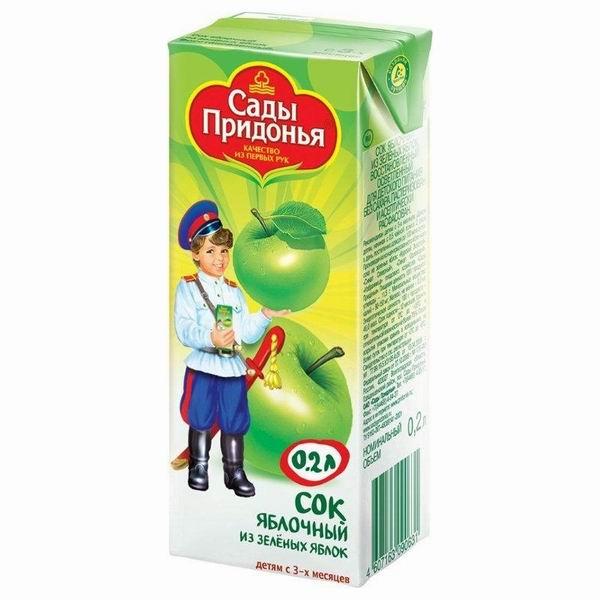 Соки и напитки Сады Придонья Сок Яблоко зеленое с 3 мес., 200 мл хлеб