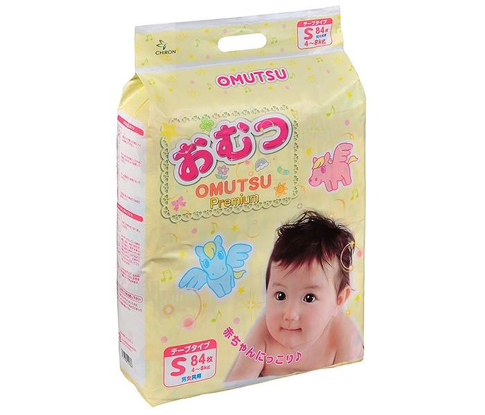 Подгузники Omutsu Подгузники детские S (4-8 кг) 84 шт. подгузники