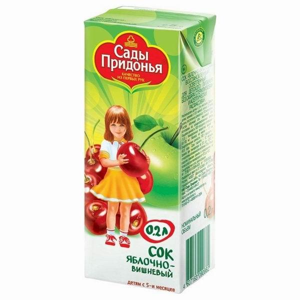Соки и напитки Сады Придонья Сок Яблоко с вишней с 5 мес., 200 мл добрый сок яблоко персик 0 2 л