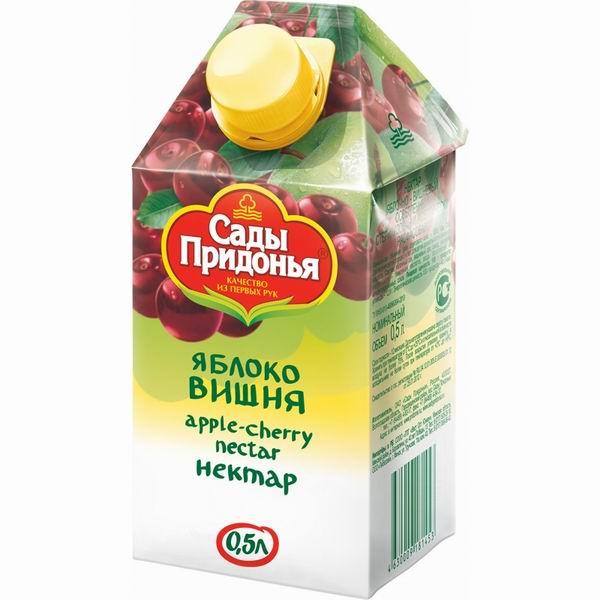 Соки и напитки Сады Придонья Сок Яблоко с вишней с 3 лет, 500 мл добрый сок яблоко персик 0 2 л