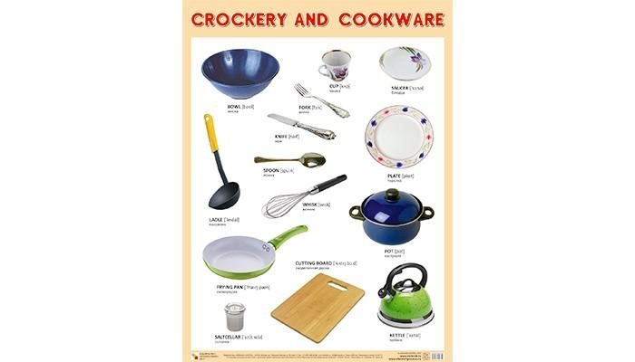 Обучающие плакаты Мозаика-Синтез Плакаты на английском языке Сrockery and cookware Посуда