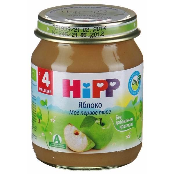 Пюре Hipp Пюре Яблоко с 4 мес., 125 г пюре спелёнок яблоко с 4 мес 125 г стекло