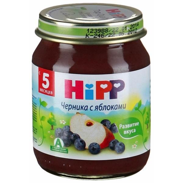 Пюре Hipp Пюре Черника с яблоками с 5 мес., 125 г жевательные пластики витамины черника форте для детей
