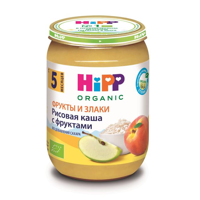Пюре Hipp Безмолочная каша из цельного риса с фруктами с 5 мес., 190 г десерт молочный hipp манный яблоко персик с 5 мес 190 гр