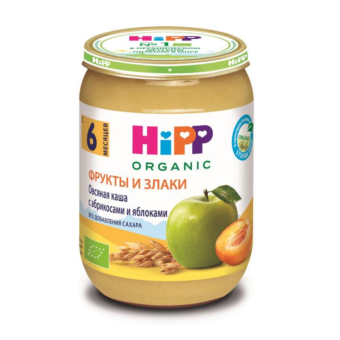 Пюре Hipp Безмолочная Овсяная каша с абрикосами и яблоками с 6 мес., 190 г hipp спокойной ночи молочный рисовый десерт с бананом 6 мес 190 г