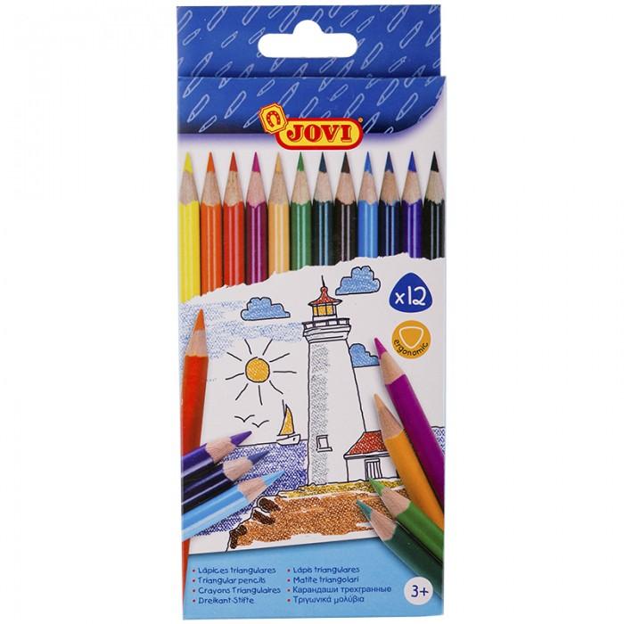 Карандаши, восковые мелки, пастель Jovi Карандаши 12 цветов трёхгранные карандаши
