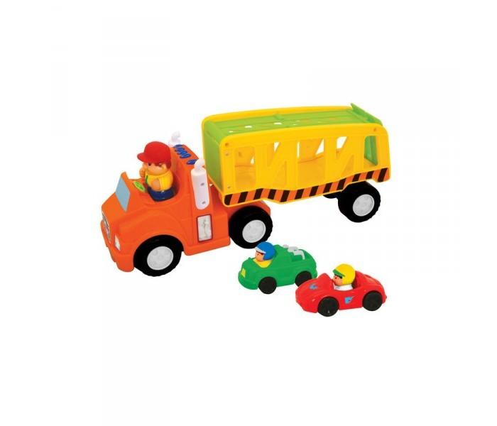Kiddieland Развивающая игрушка АвтоперевозчикРазвивающая игрушка АвтоперевозчикKiddieland Развивающая игрушка Автоперевозчик представлен грузовиком с прицепом и 2-я гоночными машинками.   В комплект входят 2 гоночных болида и грузовик с прицепом для их перевозки от одного спортивного заезда к другому. Мультипликационный дизайн машин в сочетании с яркими цветами привлекут внимание ребенка, и сделают игровой процесс забавным и интересным. У каждого автомобиля имеется свой водитель, что добавляет в игру больше реализма.   Все игрушки выполнены из прочного пластика, устойчивого к падениям, и окрашены с применением нетоксичных красящих элементов.<br>