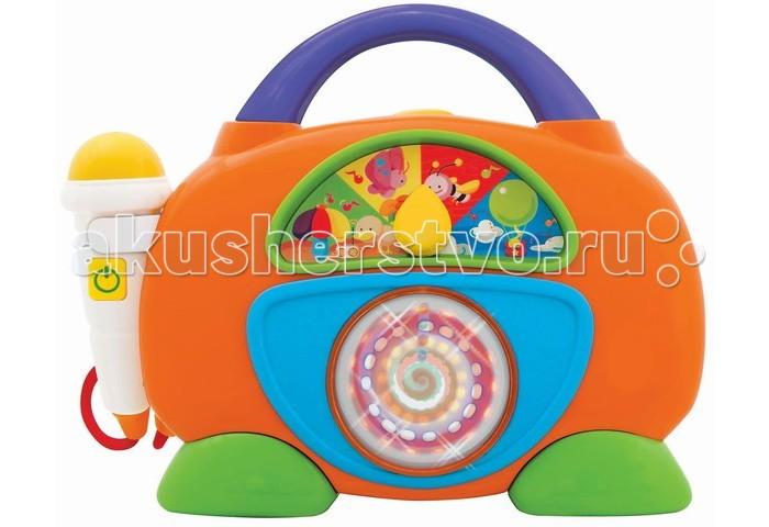 Kiddieland Развивающая игрушка Забавное радиоРазвивающая игрушка Забавное радиоKiddieland Развивающая игрушка Забавное радио отличное развлечение для малыша. Игрушка снабжена звуковыми эффектами, нажав на кнопку сверху - дети смогут прослушать музыкальные мелодии.  Радио имеет яркий корпус с ручкой, украшенный цветными декоративными наклейками. А микрофон позволит детям попробовать себя в роли звёзд эстрады.  Игрушка способствует развитию мелкой моторики, цветового восприятия, воображения и фантазии малышей.<br>