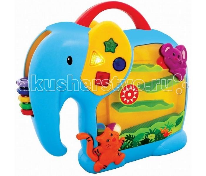 Развивающая игрушка Kiddieland Занимательный слонЗанимательный слонРазвивающая игрушка Kiddieland Занимательный слон со световым и звуковыми эффектами. В теле слона расположен лабиринт, по которому скатываются шарики, а в хоботе на дуге нанизаны разноцветные колечки, которые можно двигать и вращать, для переноски есть удобная ручка.   Слон способствует развитию мелкой моторики, цветового и звукового восприятия воображения и фантазии малышей.  Изделие произведено из качественного и сертифицированного пластика, окрашенного яркими нетоксичными красителями.<br>