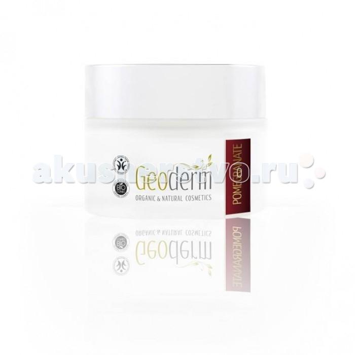 Geoderm Увлажняющий и регенерирующий крем для лица Гранат Для всех типов кожиУвлажняющий и регенерирующий крем для лица Гранат Для всех типов кожиGeoderm Увлажняющий и регенерирующий крем для лица Гранат Для всех типов кожи - это эксклюзивный питательный крем, предназначенный для ухода за любым типом дермы. Обеспечивает полноценное питание и увлажнение эпидермиса на протяжении всего дня. Органический состав средства мягко воздействует на эпителий, поэтому может использоваться для ухода за чувствительной кожей. Крем обладает омолаживающим воздействием.  Состав: масло косточек граната содержит огромное количество важных витаминов, микро- и макроэлементов, жирных кислот, которые берут участие в ежедневном обменном процессе; стимулирует капиллярное кровообращение и клеточный метаболизм, укрепляет кожный покров и улучшает его общее состояние масло сладкого миндаля замедляет процесс старения клеток, защищает дерму от агрессивного воздействия факторов внешней и внутренней среды, смягчает кожу и разглаживает морщины, устраняет чувство стянутости и сухости, избавляет от шелушения, придает дерме гладкость и шелковистость экстракт ромашки хорошо осветляет тон лица, устраняет пигментные пятна, стимулирует процессы регенерации клеток и восстанавливает эпидермис, эффективно лечит акне и угревую сыпь, нормализует функции сальных желез, способствует быстрому заживлению повреждений, улучшает цвет лица и хорошо смягчает эпидермис экстракт гамамелиса обладает регенерирующим и антиоксидантным воздействием, укрепляет стенки капилляров и устраняет купероз, улучшает кровообращение, способствует лучшему насыщению кожного покрова питательными веществами и кислородом, улучшает оттенок лица, борется с морщинами  Применение: На хорошо умытое и подготовленное лицо, шею и зону декольте нанесите необходимое количество препарата. Легкими круговыми движениями равномерно распределите его по всей поверхности дермы, до полного впитывания. Крем необходимо использовать утром и вечером.  Действие: Средст