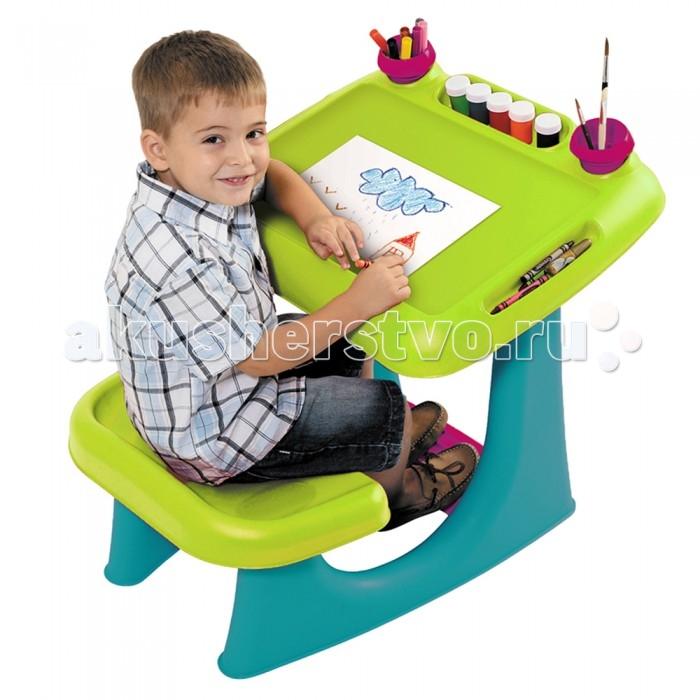 Keter Столик-парта Sit &amp; Draw для рисования и игрСтолик-парта Sit &amp; Draw для рисования и игрСтолик-парта Keter Sit & Draw для рисования и игр практичная компактная модель, которая позволит правильно организовать рабочее пространство ребенка для занятий творчеством и письмом.   Представляет собой одноместную парту с удобным сиденьем и подставкой для ног. Имеется множество кармашков и емкостей для хранения принадлежностей для творчества.  Особенности: легко моется  широкая удобная подножка обеспечивает правильное положение корпуса ребенка во время занятий  поверхность столика выполнена в виде удобного, расположенного под небольшим углом мольберта 2 съемных стаканчика для карандашей и кисточек  чашки съемные для легкой чистки прочный и высококачественный  красочный дизайн малый вес, простота монтажа, хорошая устойчивость, отсутствие острых углов и опасных деталей удобен для хранения рекомендуемый возраст: от 2-х лет состав: прочный современный пластик, отвечающий всем требованиям гигиены и безопасности  размеры (ДхШхВ): 70 х 56 х 57 см<br>