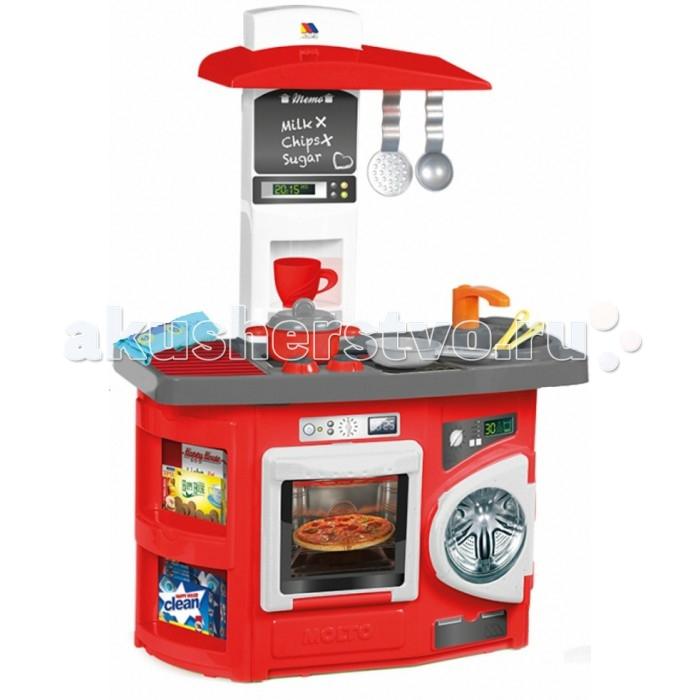 Molto Детская игровая кухня 1 модульДетская игровая кухня 1 модульMolto Детская игровая кухня 1 модуль обязательно понравится вашей девочке. Теперь малышка сможет самостоятельно готовить свои любимые блюда и угощать ими родителей и своих куколок.   Во время игры ребенок сможет развивать логическое мышление, моторику пальчиков рук, а также просто весело проводить время. Игровая кухня включает множество аксессуаров для приготовления вкусностей, поэтому с разнообразием блюд проблем не возникнет.   В комплект входит: плита с духовкой стиральная машинка 12 аксессуаров для кухни: стакан, чашка, кастрюля, крышка для кастрюли, противень, тарелка, чайная ложка, нож, ложка, вилка, шумовка, половник Размер кухни в собранном виде: 56 х 28 х 82 см<br>