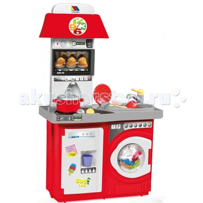 Molto Детская игровая кухня 1 модуль с аксессуарамиДетская игровая кухня 1 модуль с аксессуарамиMolto Детская игровая кухня 1 модуль с аксессуарами обязательно понравится вашей девочке. Теперь малышка сможет самостоятельно готовить свои любимые блюда и угощать ими родителей и своих куколок. Теперь весь процесс будет сопровождаться световыми эффектами, что добавит игре реалистичности.   Во время игры ребенок сможет развивать логическое мышление, моторику пальчиков рук, а также просто весело проводить время. Игровая кухня включает множество аксессуаров для приготовления вкусностей, поэтому с разнообразием блюд проблем не возникнет.   В комплект входит: микроволновая печь стиральная машинка холодильник 14 аксессуаров для кухни: чашка, кастрюля, крышка для кастрюли, стакан, тарелка, блюдце, чайная ложка, нож, ложка, вилка, 2 колбаски, яйцо, губка Размер кухни в собранном виде: 57 х 27,5 х 97 см<br>